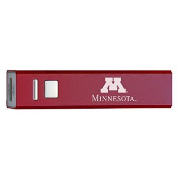University of Minnesota - Portable Cell Phone 2600 mAh Power Bank Charger - Burgundy