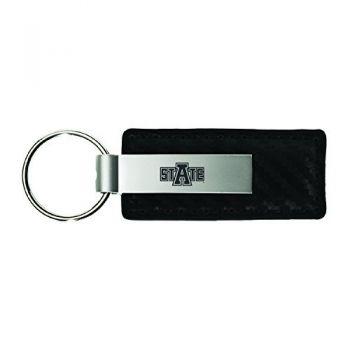 Arkansas State University-Carbon Fiber Leather and Metal Key Tag-Black