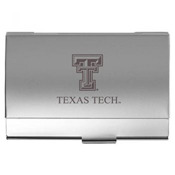 Texas Tech University - Two-Tone Business Card Holder - Silver
