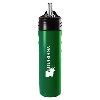 Louisiana-State Outline-Stainless Steel Grip Water Bottle with Straw-Green