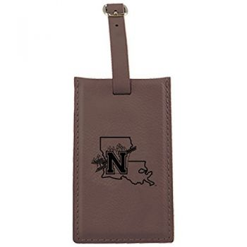 Northwestern State University -Leatherette Luggage Tag-Brown