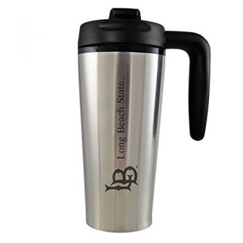 Long Beach State University -16 oz. Travel Mug Tumbler with Handle-Silver