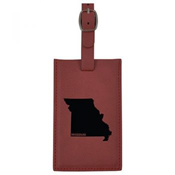 Missouri-State Outline-Leatherette Luggage Tag -Burgundy