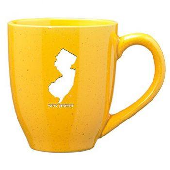 16 oz Ceramic Coffee Mug with Handle - New Jersey State Outline - New Jersey State Outline