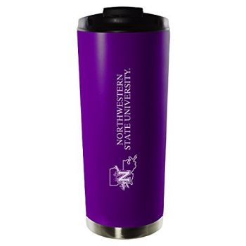 Northwestern State University-16oz. Stainless Steel Vacuum Insulated Travel Mug Tumbler-Purple