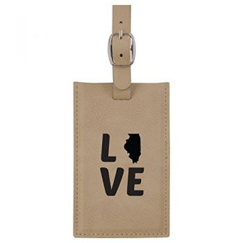Illinois-State Outline-Love-Leatherette Luggage Tag -Tan