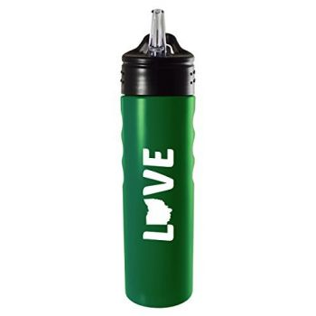 Ohio-State Outline-Love-Stainless Steel Grip Water Bottle with Straw-Green