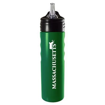 Massachusetts-State Outline-Stainless Steel Grip Water Bottle with Straw-Green