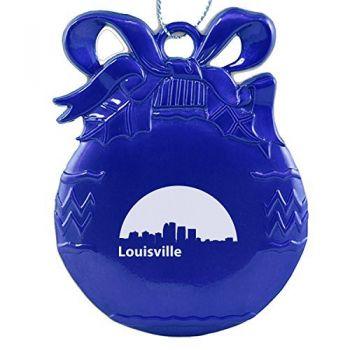 Pewter Christmas Bulb Ornament - Louisville City Skyline
