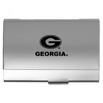 University of Georgia - Two-Tone Business Card Holder - Silver
