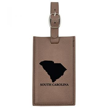 South Carolina-State Outline-Leatherette Luggage Tag -Brown