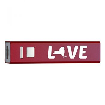 New York-State Outline-Love-Portable 2600 mAh Cell Phone Charger-