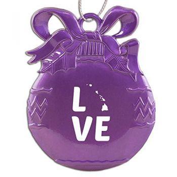 Hawaii-State Outline-Love-Christmas Tree Ornament-Purple
