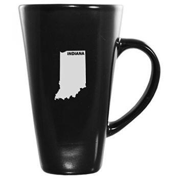 16 oz Square Ceramic Coffee Mug - Indiana State Outline - Indiana State Outline