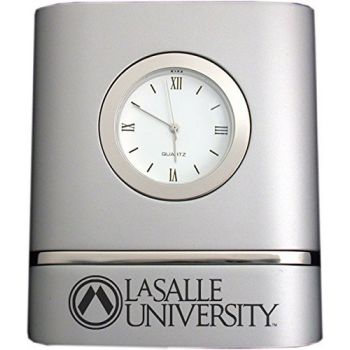 La Salle University- Two-Toned Desk Clock -Silver