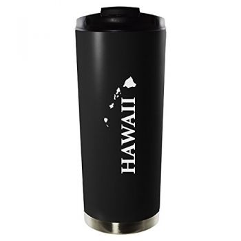 16 oz Vacuum Insulated Tumbler with Lid - Hawaii State Outline - Hawaii State Outline