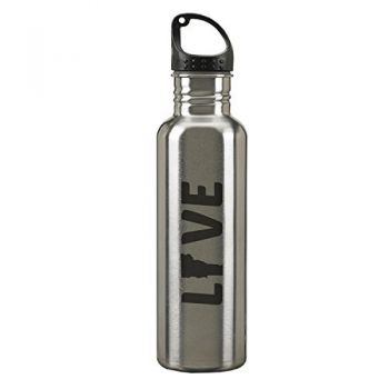 Vermont-State Outline-Love-24-ounce Sport Water Bottle-Silver