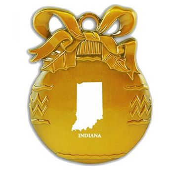 Pewter Christmas Bulb Ornament - Indiana State Outline - Indiana State Outline