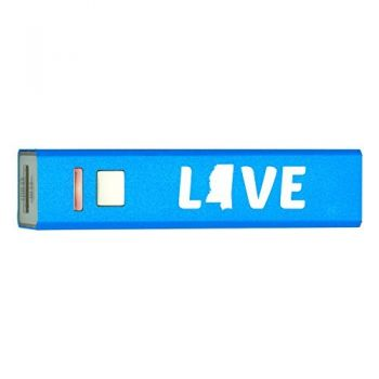 Mississippi-State Outline-Love-Portable 2600 mAh Cell Phone Charger-