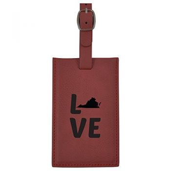 Virginia-State Outline-Love-Leatherette Luggage Tag -Burgundy
