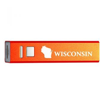 Wisconsin-State Outline-Portable 2600 mAh Cell Phone Charger-