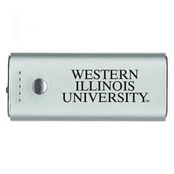 Western Illinois University -Portable Cell Phone 5200 mAh Power Bank Charger -Silver