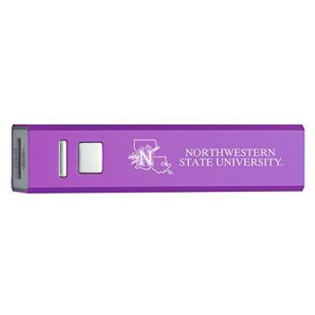 Northwestern State University - Portable Cell Phone 2600 mAh Power Bank Charger - Purple