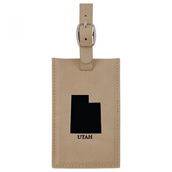 Utah-State Outline-Leatherette Luggage Tag -Tan