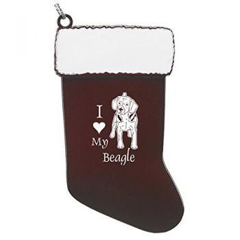 Pewter Stocking Christmas Ornament  - I Love My Beagle