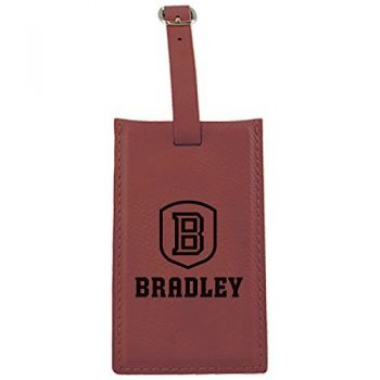 Bradley University -Leatherette Luggage Tag-Burgundy