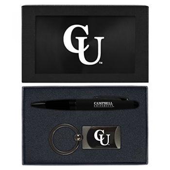 Campbell University -Executive Twist Action Ballpoint Pen Stylus and Gunmetal Key Tag Gift Set-Black
