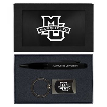 Marquette University-Executive Twist Action Ballpoint Pen Stylus and Gunmetal Key Tag Gift Set-Black