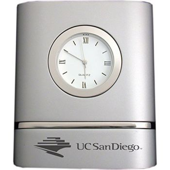 University of San Diego- Two-Toned Desk Clock -Silver
