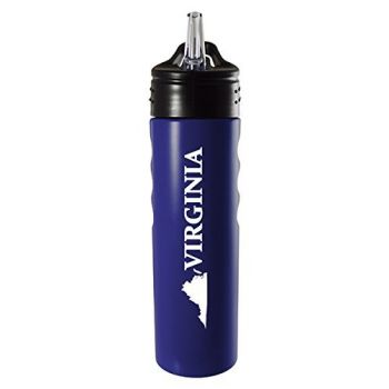 Virginia-State Outline-Stainless Steel Grip Water Bottle with Straw-Blue