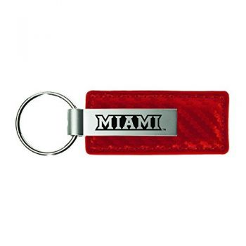 Miami University-Carbon Fiber Leather and Metal Key Tag-Red