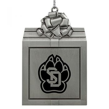 University of South Dakota -Pewter Christmas Holiday Present Ornament-Silver