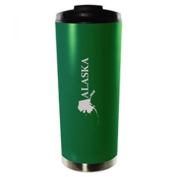 Alaska-State Outline-16oz. Vacuum Sealed Travel Mug-Green