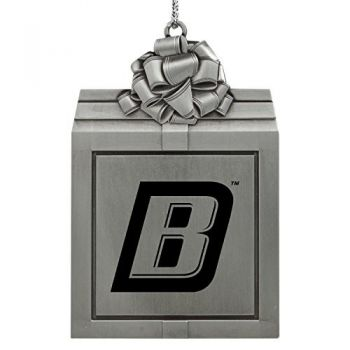 Bryant University -Pewter Christmas Holiday Present Ornament-Silver