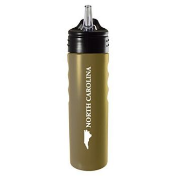 North Carolina-State Outline-Stainless Steel Grip Water Bottle with Straw-Gold