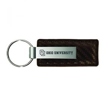 Ohio University-Carbon Fiber Leather and Metal Key Tag-Taupe