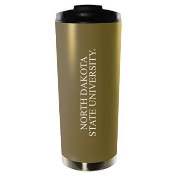 North Dakota State University-16oz. Stainless Steel Vacuum Insulated Travel Mug Tumbler-Gold