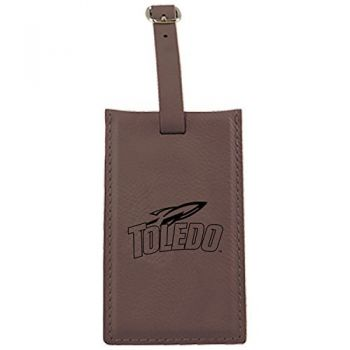 University of Toledo -Leatherette Luggage Tag-Brown