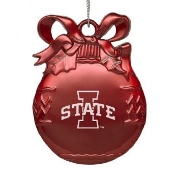 Iowa State University - Pewter Christmas Tree Ornament - Red