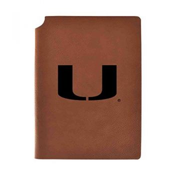 University of Miami Velour Journal with Pen Holder|Carbon Etched|Officially Licensed Collegiate Journal|