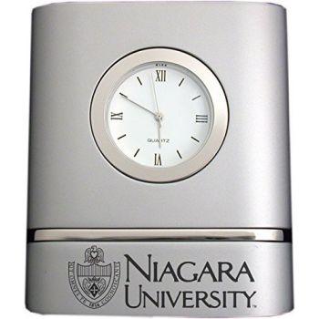 Niagara University- Two-Toned Desk Clock -Silver