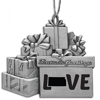 Kansas-State Love-Pewter Gift Package Ornament-Silver
