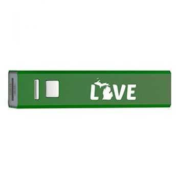 Michigan-State Outline-Love-Portable 2600 mAh Cell Phone Charger-