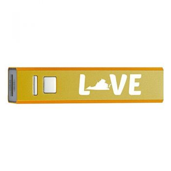Virginia-State Outline-Love-Portable 2600 mAh Cell Phone Charger-