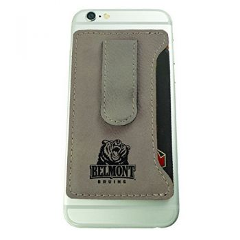 Belmont University-Leatherette Cell Phone Card Holder-Tan