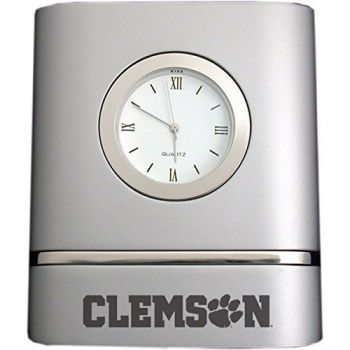Clemson University- Two-Toned Desk Clock -Silver